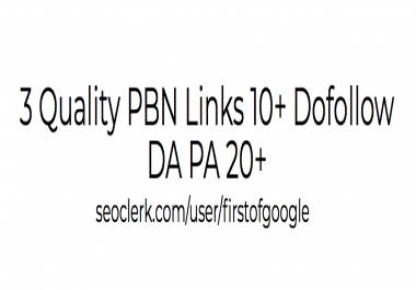3 Quality PBN Links 10+ Dofollow DA PA 20+