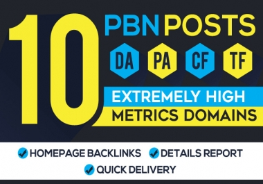 10 high DA 15plus homepage PBN dofollow backlinks
