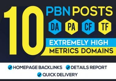10 high DA 25plus homepage PBN dofollow backlinks