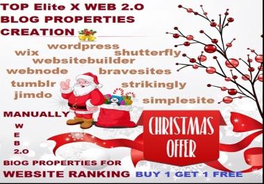 TOP 60 Elite x WEB 2.O Blog Properties Creation For Ranking Website