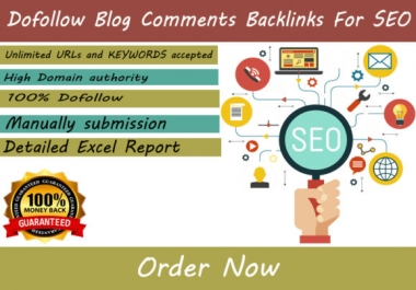 100 dofollow Blog comments backlinks for seo 1$