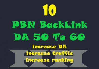 I will 10 PBN Backlinks DA 50 to 60