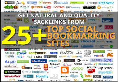 Provide 25 Social Bookmarking Links from High PR and High DA Websites