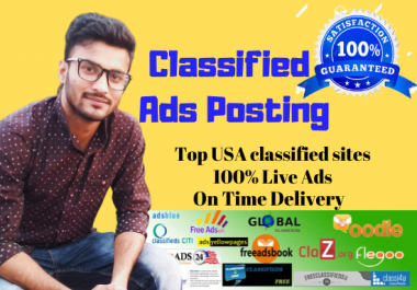 I will post your ads on 30 classified sites manually