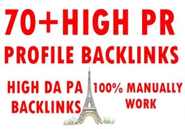70+ High PR profile backlinks-High DA PA Backlinks-Top service