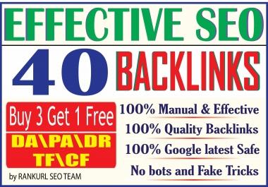 Skyrocket your Ranking by 40 Manual High DA PA DR TF CF SEO Backlinks