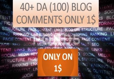 Provide 40+ DA (100) blog comments high authority backlinks
