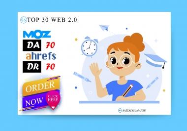High Authority 30 web2 contextual seo dofollow authority backlinks