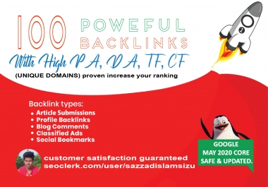 Increase Ranking with 100 Unique Domain High Authority quality Backlinks