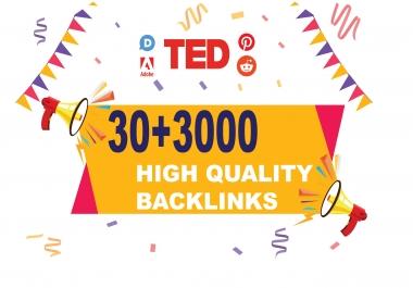 30 + 3000 High Authority SEO Backlinks