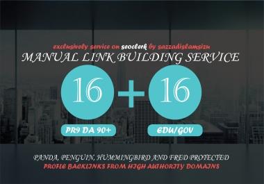 16 PR9 and 16 EDU/GOV High Authority Backlinks Seo link building