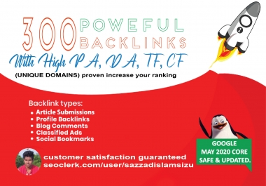 Increase Ranking with 300 Unique Domain High Authority quality Backlinks