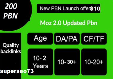 Build 200 High PA DA TF CF HomePage PBN Backlinks - Dofollow Quality Links for $10