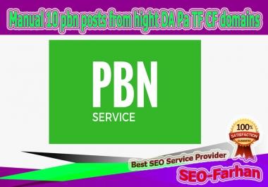 Manual 20 pbn posts from hight DA Pa TF CF 20-30+ domains