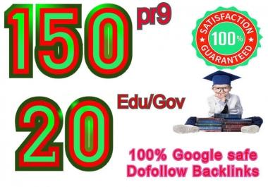 I will manually do 150 pr9 & 20 edu gov, Moz DA 50-100, Dofollow Profile backlinks