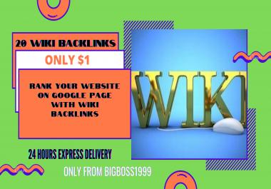 I will manually do 20 High Authority WIKI permanent Backlinks