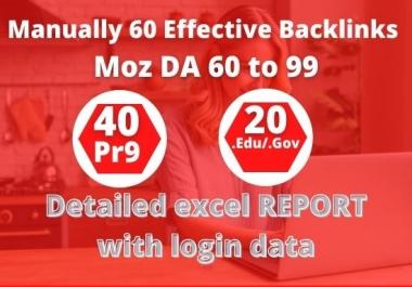I will Manually do 40 PR9 + 20 EDU/GOV High Authority Backlinks - Skyrocket your Google RANKINGS
