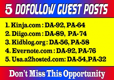 5 Dof0llow Guest Posts on High DA Sites with Unique Content