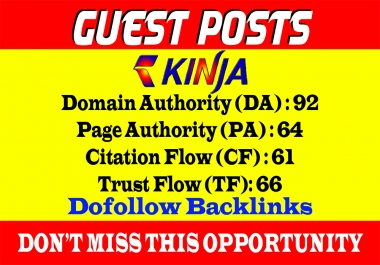 Write and published Guest Post on Kinja DA 92 Dof0llow link