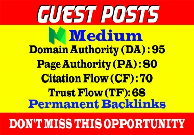Write And Publish A Guest Post On Medium DA 95,PA 80