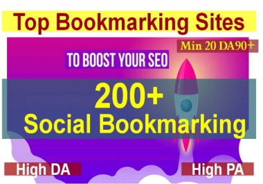 I will do 200 plus social bookmarking submission with high quality backlinks