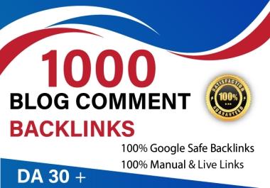 i will provide 1000 Dofollow blog comment backlink on High DA