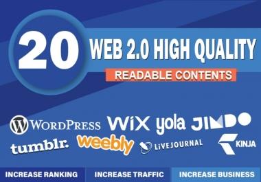 I will create 20 super web 2.0 blog properties contextual backlinks