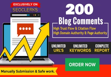 i will create 200 Dofollow blog comments with SEO backlinks