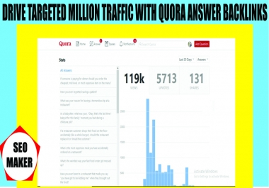 Drive Unlimited targeted traffic with answer 6 backlinks Quora