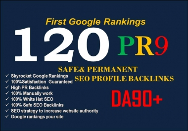 Create 120 High Authority Backlinks And trust links first page google ranking now