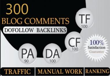 I will create 300 dofollow backlinks blog comments da 50 plus sites