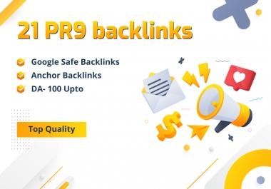 UPTO DA 100- 21 PR9 Backlinks Google Safe and SEO Links