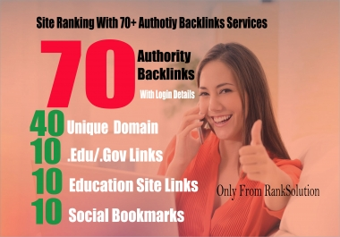 Site Ranking With 40 Big Companies Links + 20 EDU/GOV + 10 SOCIAL BOOKMARKS For Your Website or Blog