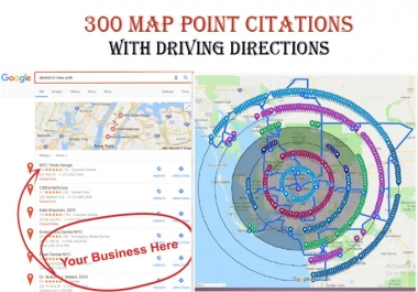 I will do 50 map point citations with driving directions for any country