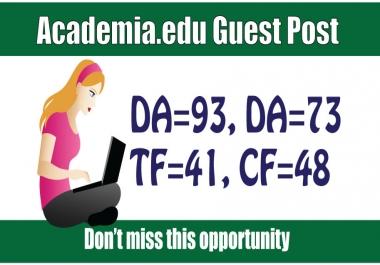 Edu Guest Post on Academia DA93, DR91