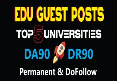 DA90 Edu Guest Posts on TOP 5 Universities - DoFollow Links