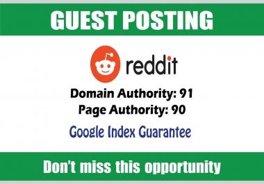Write & Publish Guest Post on Reddit DA91 - Google Indexing