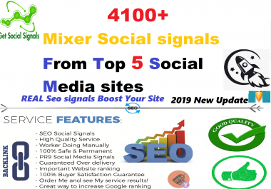 Build REAL SEO 4100+ HQ Mixed Seo Social Signals from Top 5 social media sites