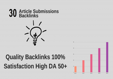 I will provide 30 unique article submission with da50 plus unique domain backlinks