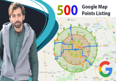 I will create 500 google map point listing with local SEO