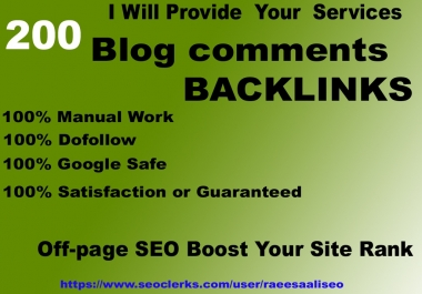 google ranking 200 blog comment on high DA/PA, TF/CF SEO