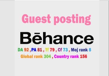 I will write & publish guest post backlinks on Behance.net