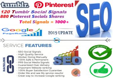 120 Tumblr + 880 Pinterest share social Seo Siganls Powerful Social Bookmark Backlinks Signals