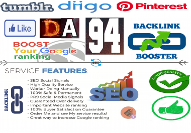 Powerful Hepling Your Website On Google 10+ DA 94 Nofollow Backlinks with 4500 social signals