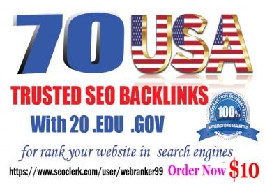 I will Top rank your website with 50 USA Pr9 & 20 Edu.Gov High-quality link building Seo Backlinks