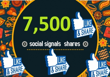 7,500 TOP social media Social Signals share Mix to boost visibility in Social Networks