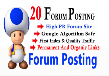I will make unique 20 do follow forum Possting link on any forums