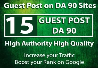 Get 15 Guest Posts upto DA 98 sites