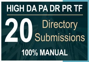Get 20 Directory Submissions on High DA PA
