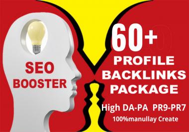 create 60+ high pr DA PA profile backlinks